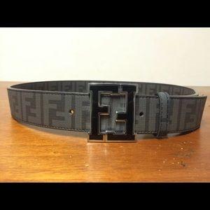 FENDI Zucca Belt | Size 34 or 85cm | Black Leather